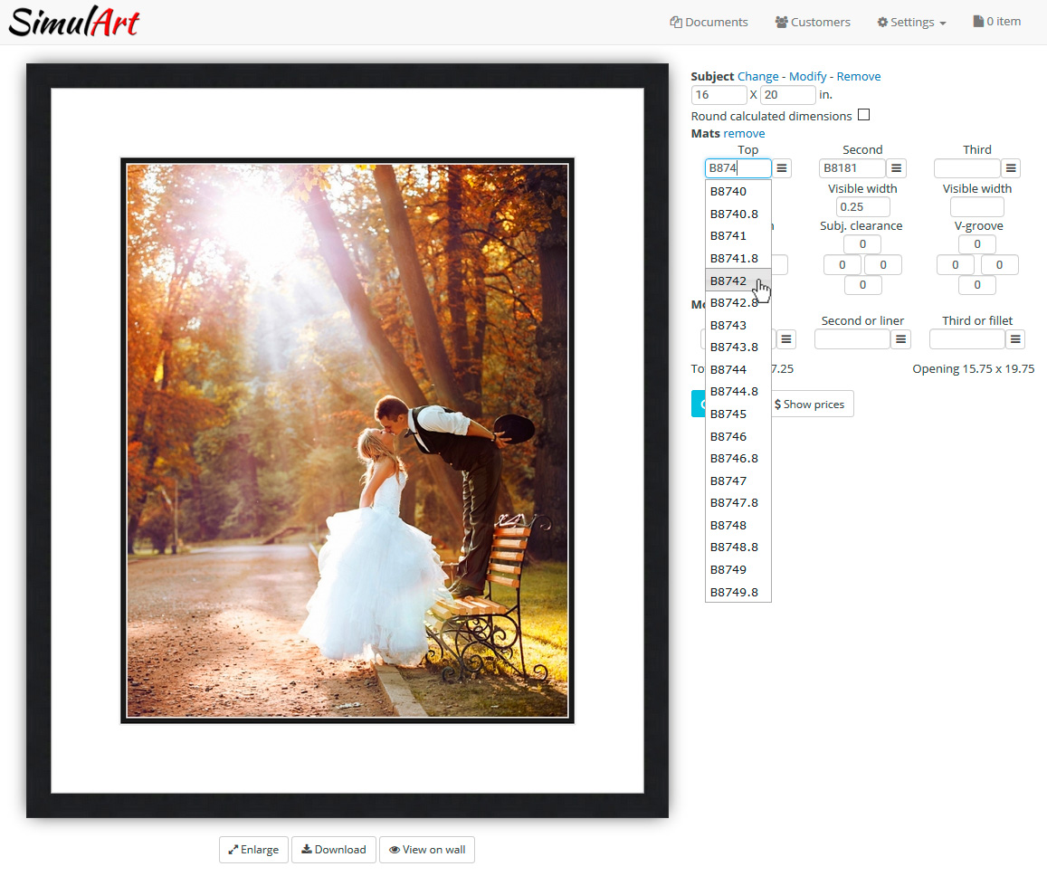 Picture Framing Software Screenshot